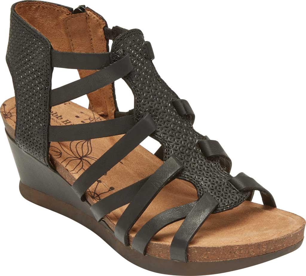 Women's Rockport Cobb Hill Shona Wedge Gladiator Sandal, Black Leather, large, image 1