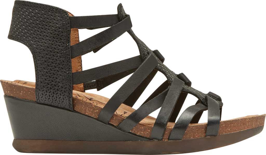 Women's Rockport Cobb Hill Shona Wedge Gladiator Sandal, Black Leather, large, image 2