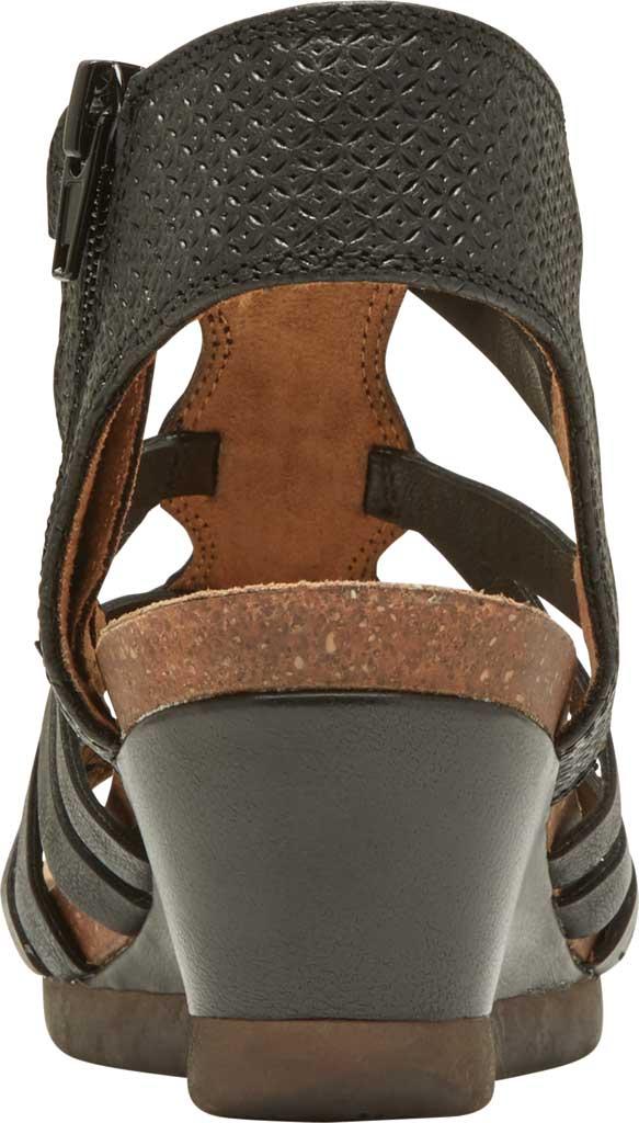 Women's Rockport Cobb Hill Shona Wedge Gladiator Sandal, Black Leather, large, image 3
