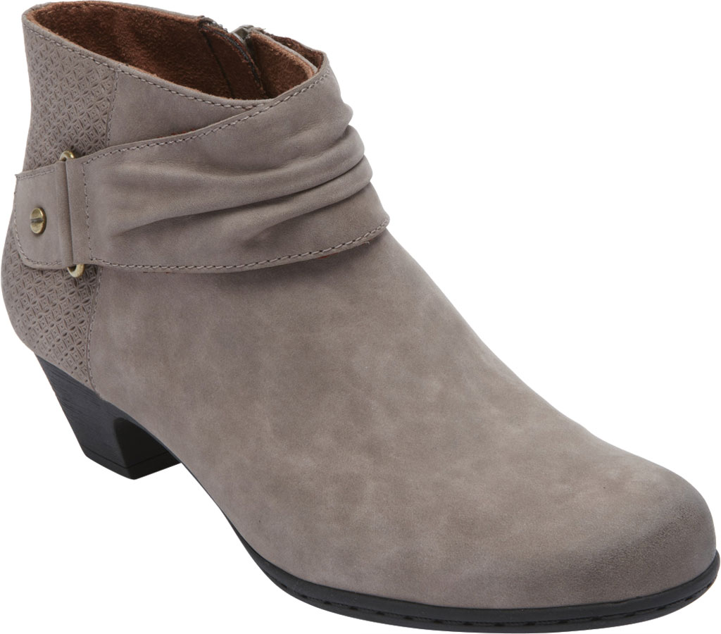 Women's Rockport Brynn Rouched Ankle Bootie, Dust Nubuck, large, image 1