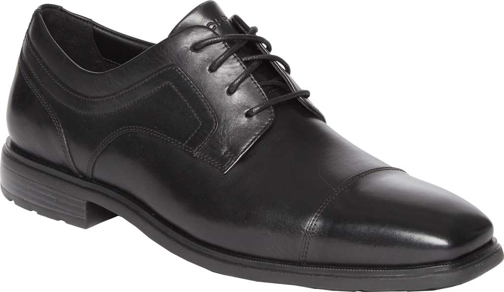 Men's Rockport DS Business 2 Captoe Oxford, Black Glass Leather, large, image 1