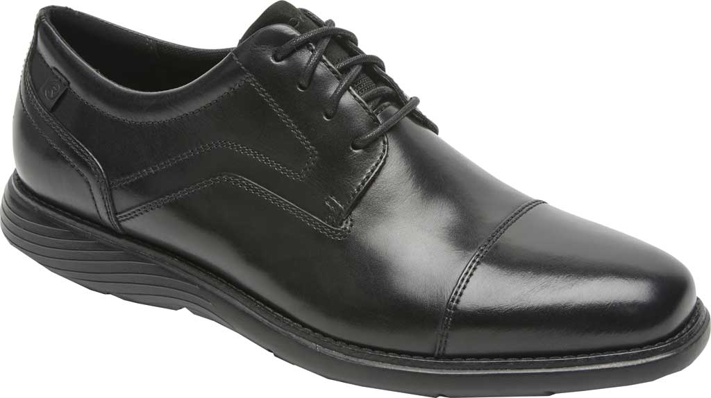 Men's Rockport Garett Cap Toe Oxford, Black Leather, large, image 1