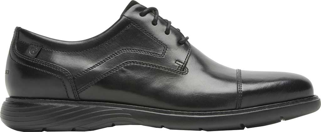 Men's Rockport Garett Cap Toe Oxford, Black Leather, large, image 2