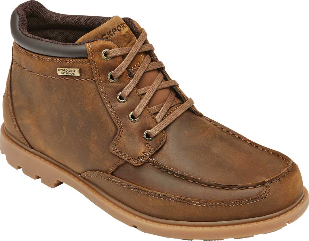 Men's Rockport Patten Waterproof Moc Toe Boot, Brown Waterproof Leather, large, image 1