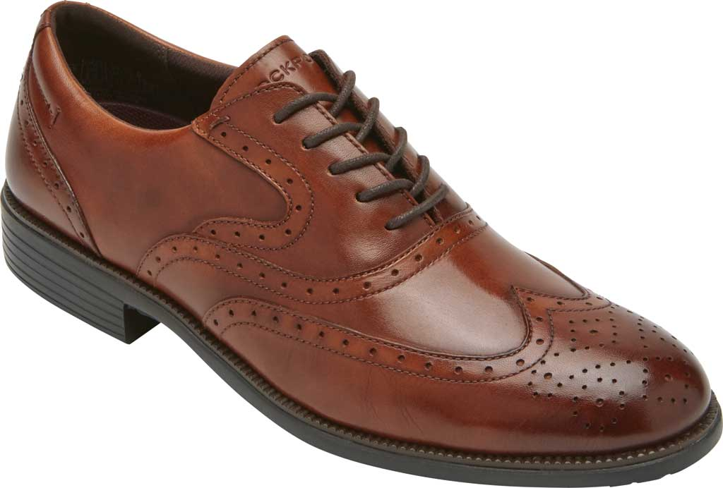 Men's Rockport Total Motion DresSport Wing Tip Oxford, Tan Leather, large, image 1