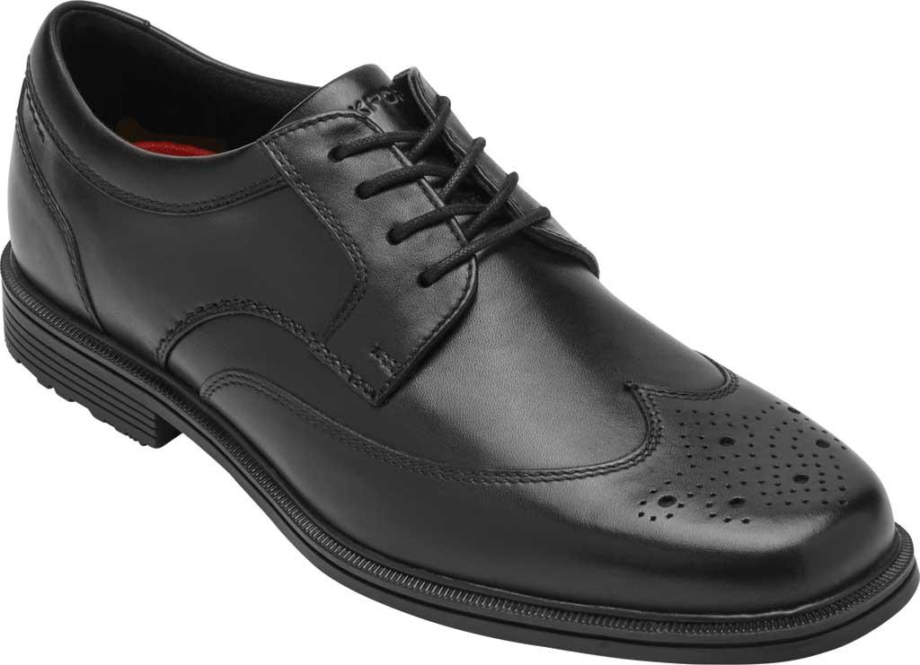 Men's Rockport Taylor Waterproof Wing Tip Oxford, Black Waterproof Leather, large, image 1