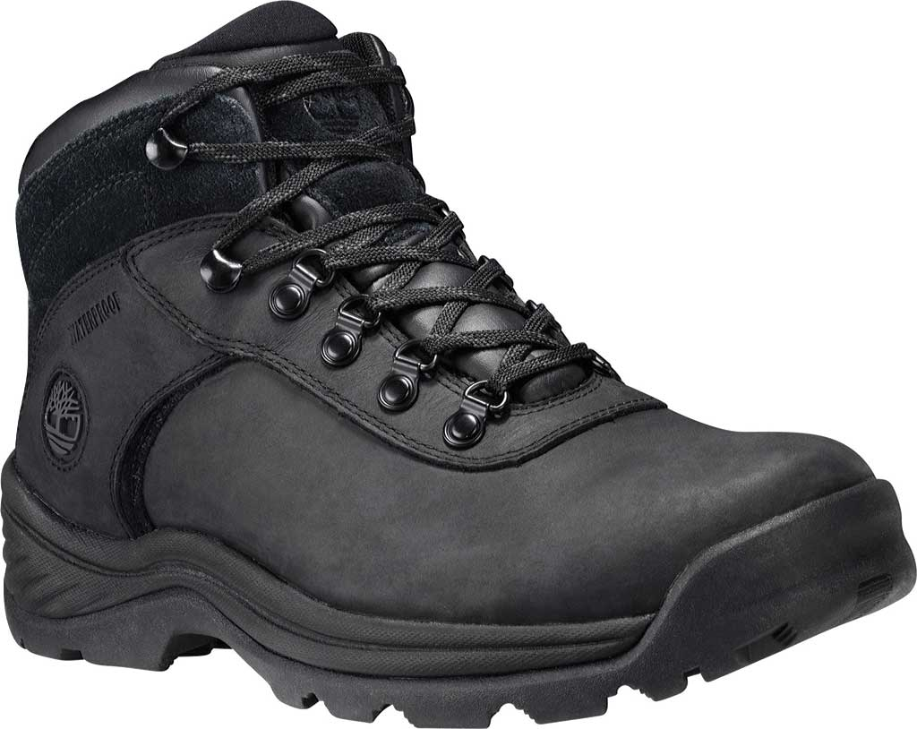 Men's Timberland Flume Mid Waterproof Boot, Black Waterproof Leather, large, image 1