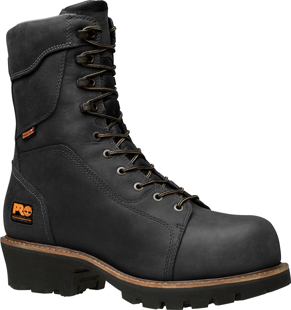 Men's Timberland PRO Rip Saw Waterproof Composite Toe CSA Logger Boot, Black Leather/Ever-guard Leather, large, image 1