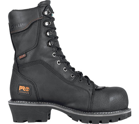 Men's Timberland PRO Rip Saw Waterproof Composite Toe CSA Logger Boot, Black Leather/Ever-guard Leather, large, image 2