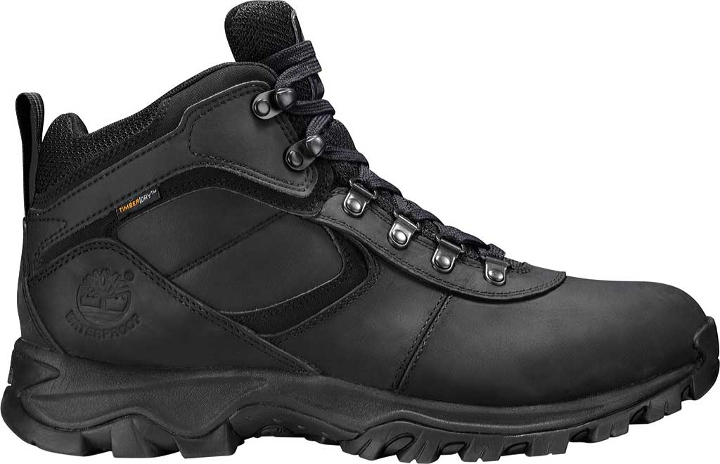 Men's Timberland Earthkeepers Mt. Maddsen Mid Waterproof Hiker Boot, Black Leather, large, image 2