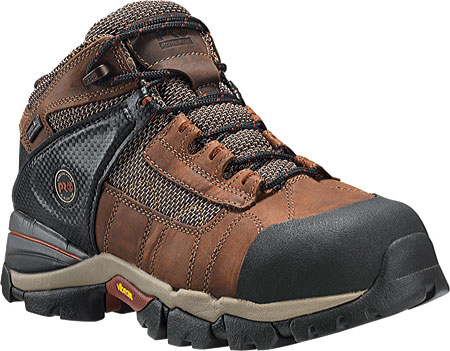 """Men's Timberland PRO Hyperion 4"""" XL Alloy Toe Waterproof Boot, Brown Distressed Leather/Fabric, large, image 1"""