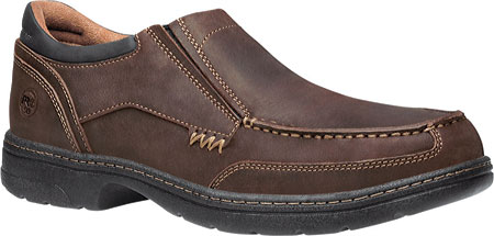 Men's Timberland PRO Branston Alloy Toe Moc Toe Slip-On ESD, Brown Distressed Leather, large, image 1