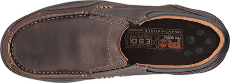 Men's Timberland PRO Branston Alloy Toe Moc Toe Slip-On ESD, Brown Distressed Leather, large, image 4
