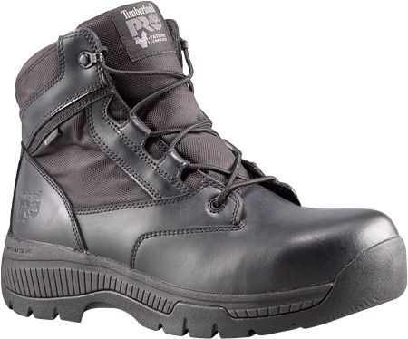 """Women's Timberland PRO Valor Duty 6"""" Soft Toe Waterproof Side-Zip, Black Smooth Leather, large, image 1"""