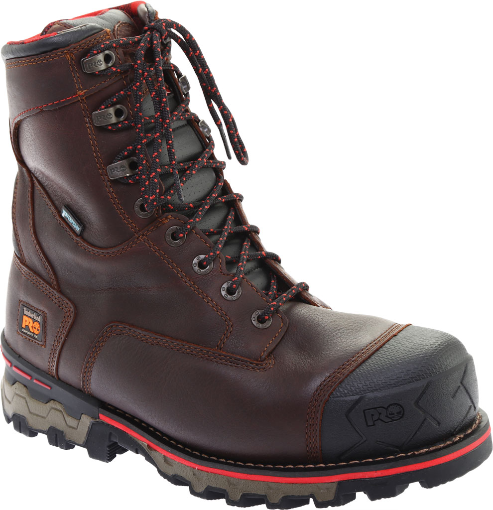 """Men's Timberland PRO Boondock 8"""" Composite Toe Waterproof 1000G Boot, Brown Tumbled Leather, large, image 1"""