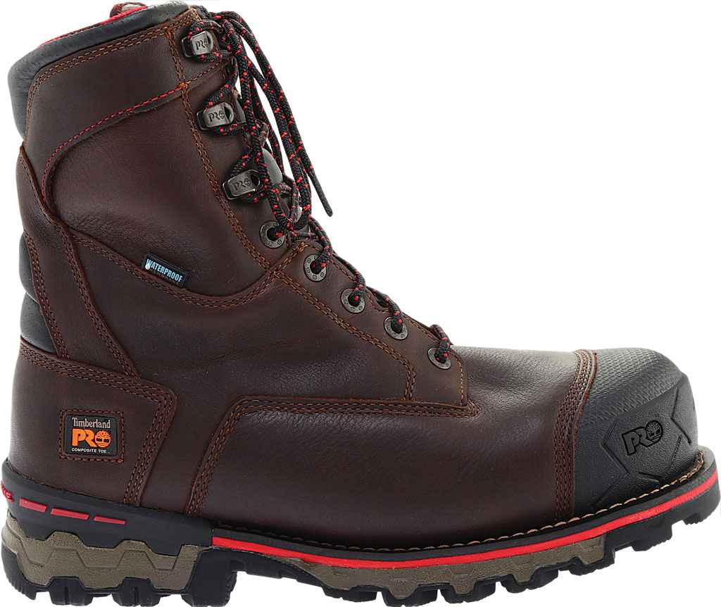 """Men's Timberland PRO Boondock 8"""" Composite Toe Waterproof 1000G Boot, Brown Tumbled Leather, large, image 2"""