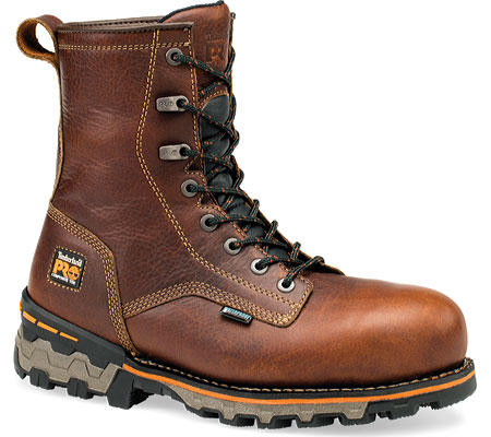 "Men's Timberland PRO Boondock Plain Toe 8"" Soft Toe Waterproof, Brown Tumbled Leather, large, image 1"