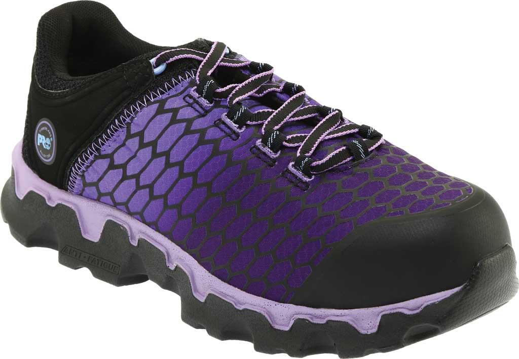 Women's Timberland PRO Powertrain Sport Alloy Toe SD Plus Work Shoe, Black Ripstop Nylon/Lavender, large, image 1
