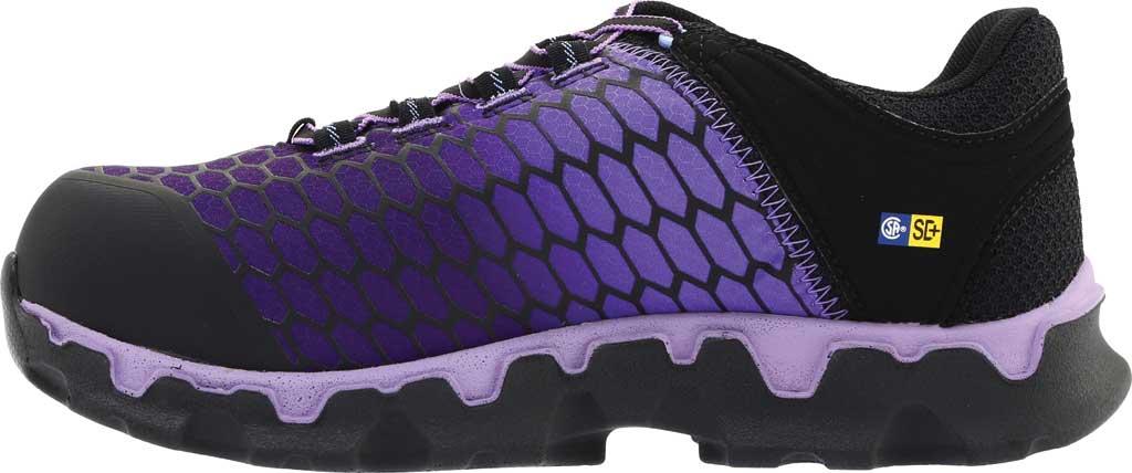Women's Timberland PRO Powertrain Sport Alloy Toe SD Plus Work Shoe, Black Ripstop Nylon/Lavender, large, image 3