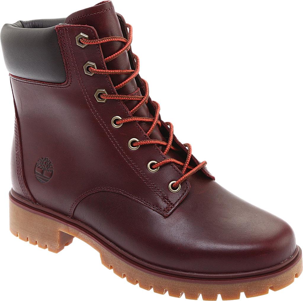"Women's Timberland Jayne 6"" Waterproof Ankle Boot, Burgundy Full Grain Leather, large, image 1"