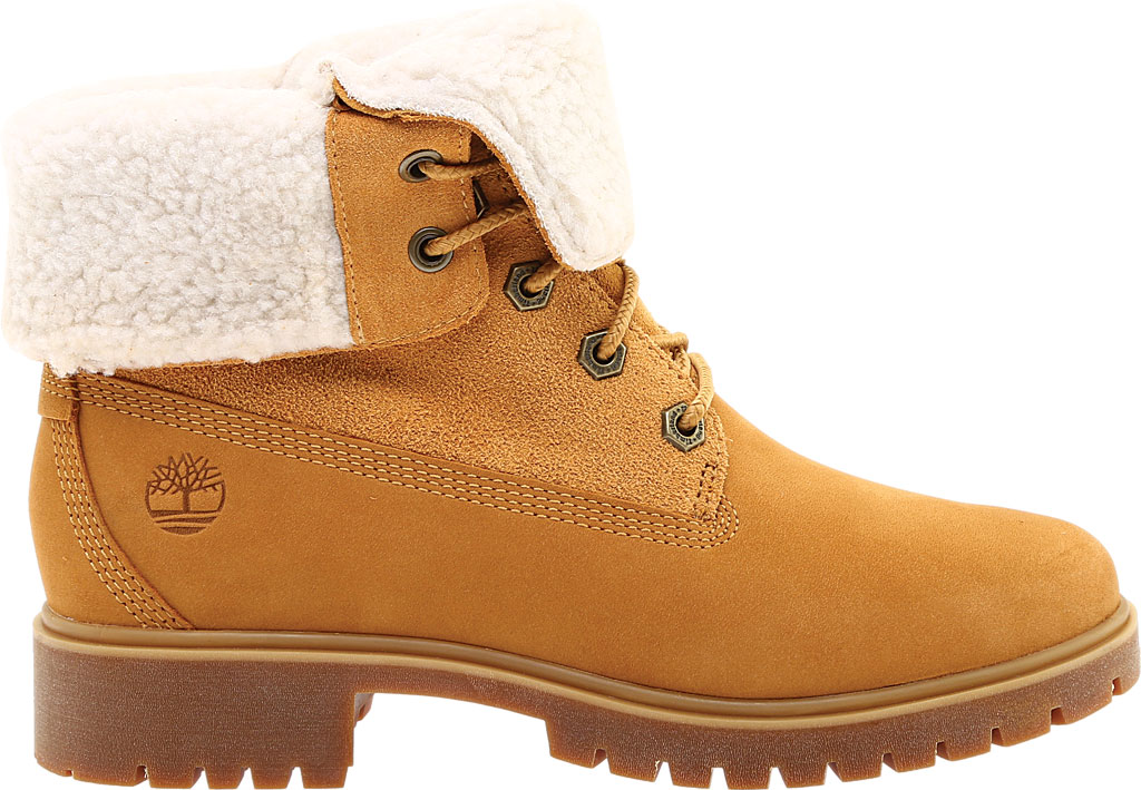 Women's Timberland Jayne Teddy Fleece Fold Down Waterproof Boot, Wheat Nubuck, large, image 2