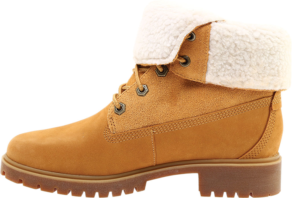 Women's Timberland Jayne Teddy Fleece Fold Down Waterproof Boot, Wheat Nubuck, large, image 3