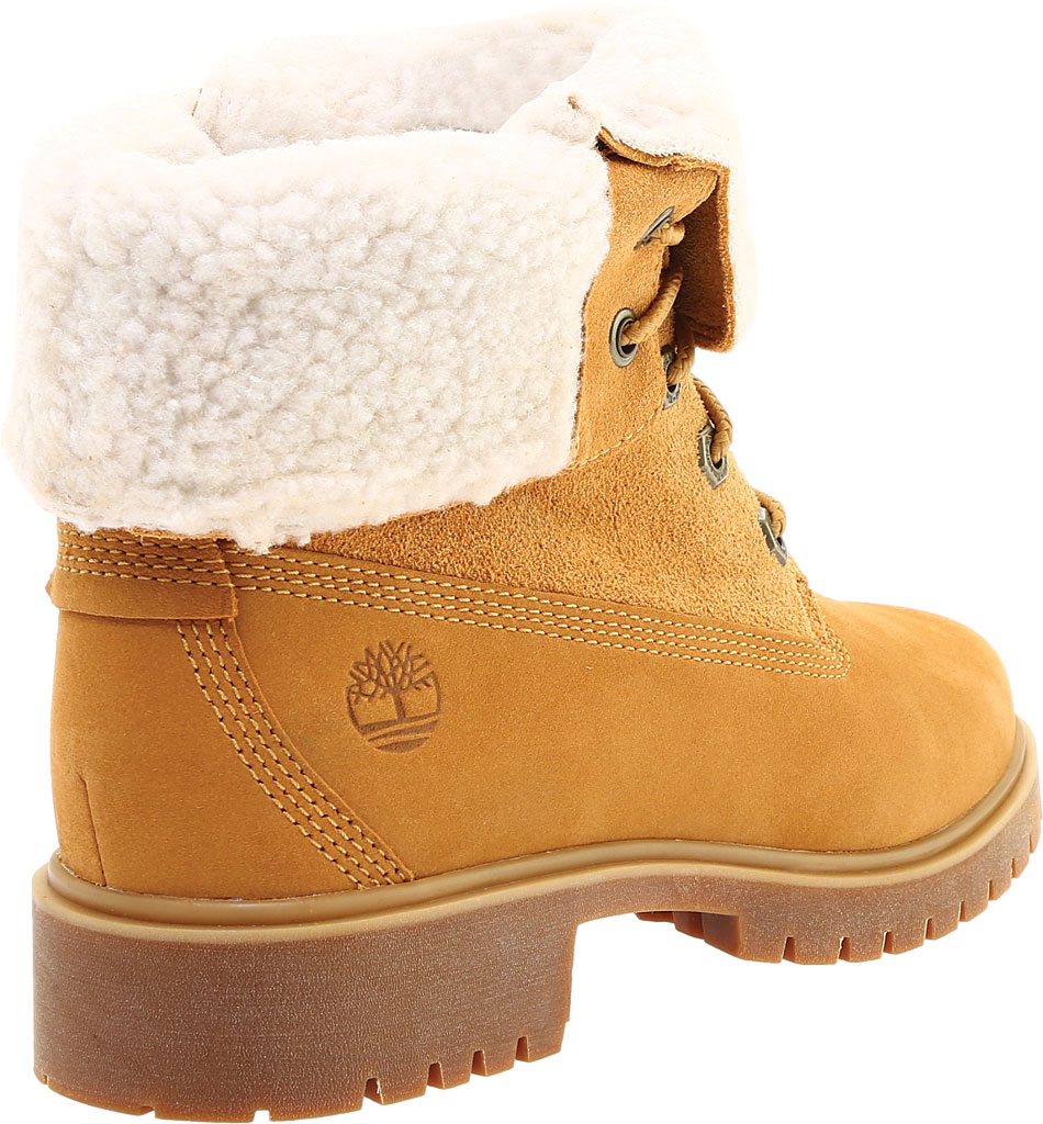 Women's Timberland Jayne Teddy Fleece Fold Down Waterproof Boot, Wheat Nubuck, large, image 4
