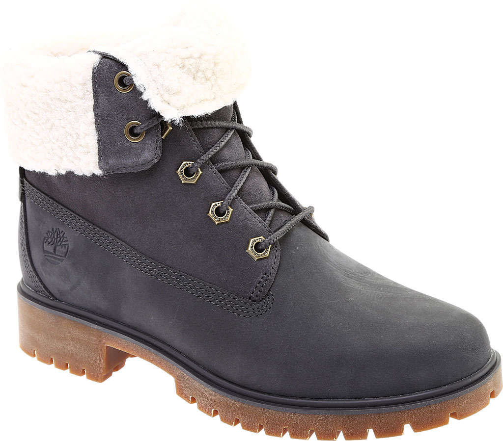 Women's Timberland Jayne Teddy Fleece Fold Down Waterproof Boot, Dark Grey Nubuck, large, image 1
