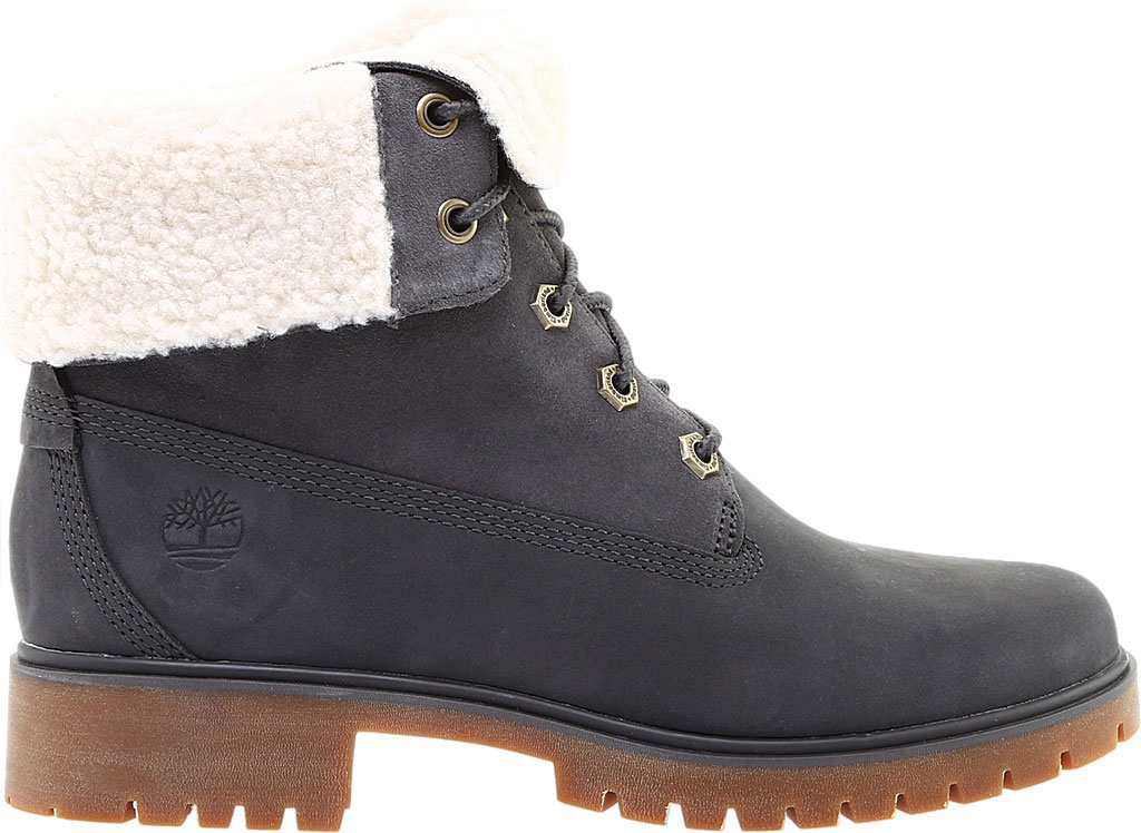 Women's Timberland Jayne Teddy Fleece Fold Down Waterproof Boot, Dark Grey Nubuck, large, image 2