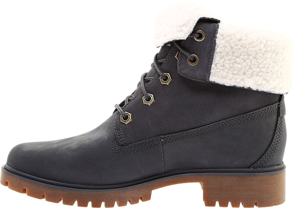Women's Timberland Jayne Teddy Fleece Fold Down Waterproof Boot, Dark Grey Nubuck, large, image 3