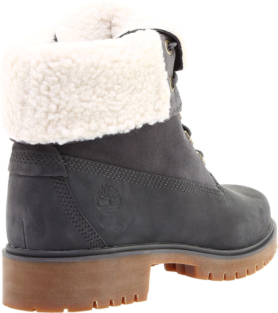 Women's Timberland Jayne Teddy Fleece Fold Down Waterproof Boot, Dark Grey Nubuck, large, image 4
