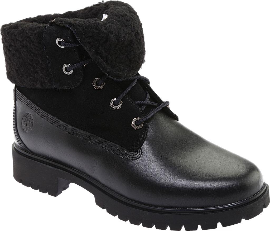 Women's Timberland Jayne Teddy Fleece Fold Down Waterproof Boot, Black Full Grain Leather, large, image 1