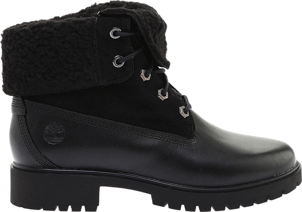 Women's Timberland Jayne Teddy Fleece Fold Down Waterproof Boot, Black Full Grain Leather, large, image 2