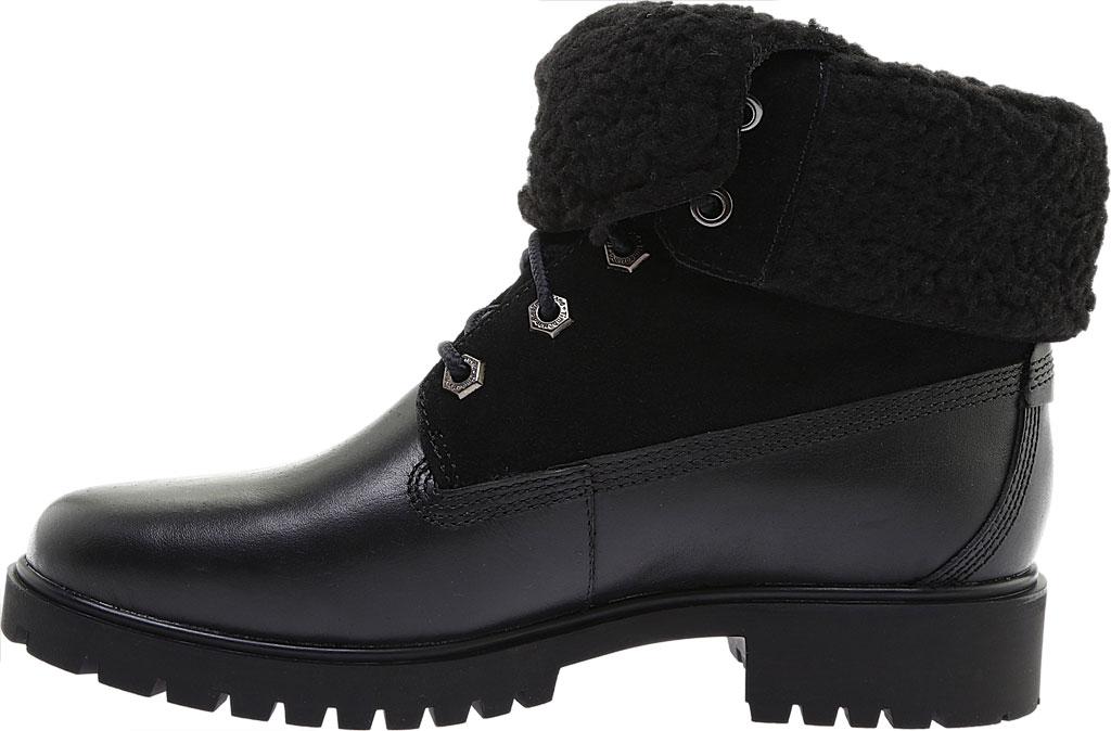 Women's Timberland Jayne Teddy Fleece Fold Down Waterproof Boot, Black Full Grain Leather, large, image 3