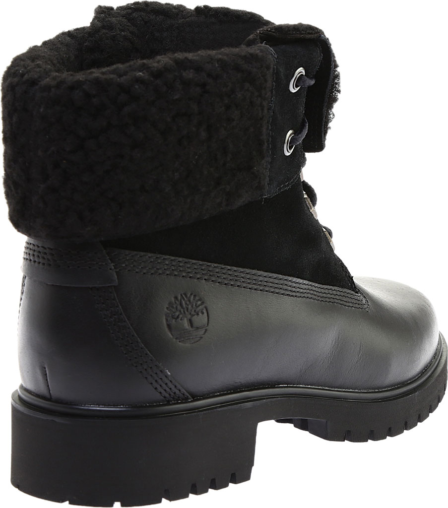 Women's Timberland Jayne Teddy Fleece Fold Down Waterproof Boot, Black Full Grain Leather, large, image 4