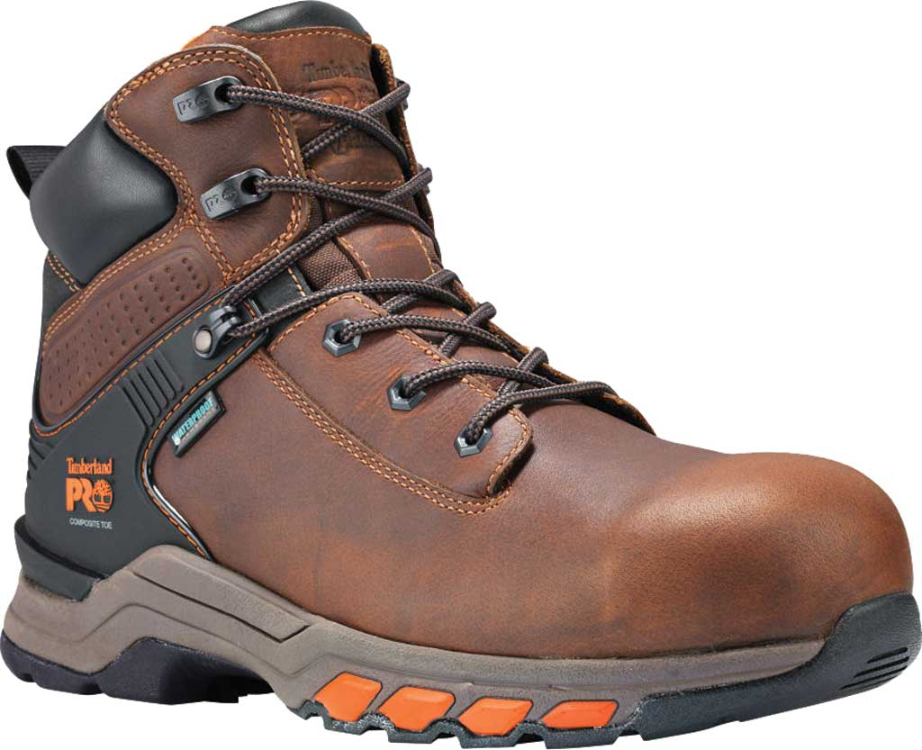 """Men's Timberland PRO Hypercharge 6"""" Composite Toe Waterproof Boot, Brown Full Grain Leather, large, image 1"""