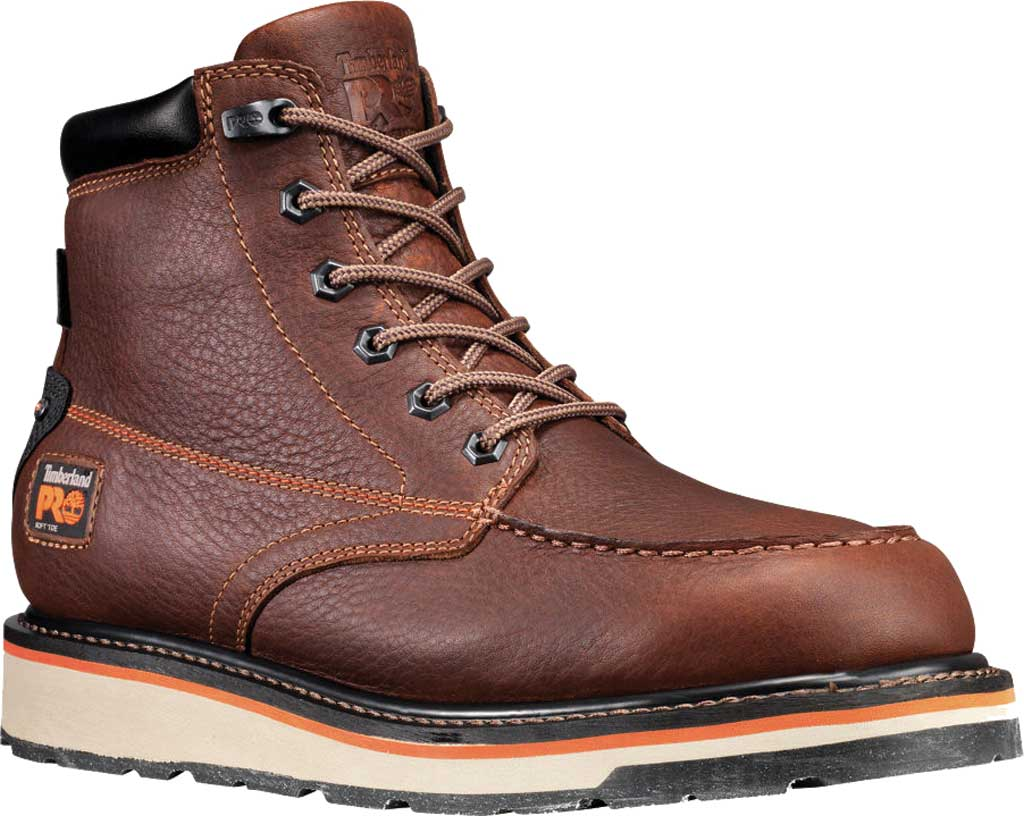 """Men's Timberland PRO Gridworks 6"""" Moc Toe Soft Toe Waterproof Boot, Brown Tempest Rancher Leather, large, image 1"""