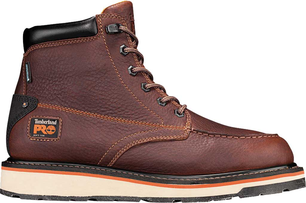 """Men's Timberland PRO Gridworks 6"""" Moc Toe Soft Toe Waterproof Boot, Brown Tempest Rancher Leather, large, image 2"""