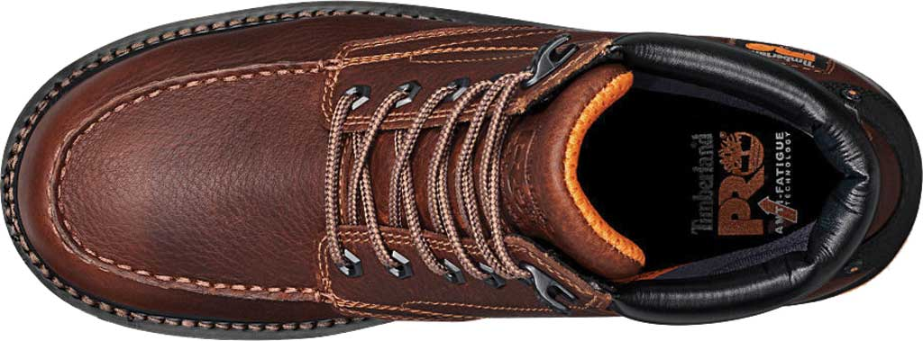 """Men's Timberland PRO Gridworks 6"""" Moc Toe Soft Toe Waterproof Boot, Brown Tempest Rancher Leather, large, image 4"""