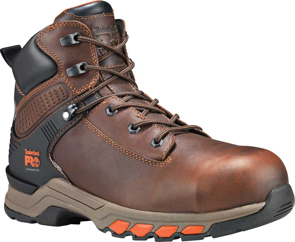 """Men's Timberland PRO 6"""" Hypercharge Composite Safety Toe Boot, Brown Teak Trailblazer Leather, large, image 1"""