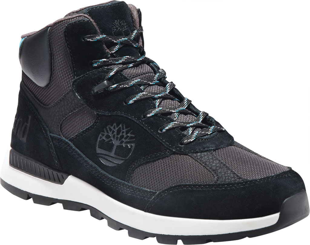 Men's Timberland Field Trekker Mid Fabric and Leather Hiker Boot, Black Suede, large, image 1