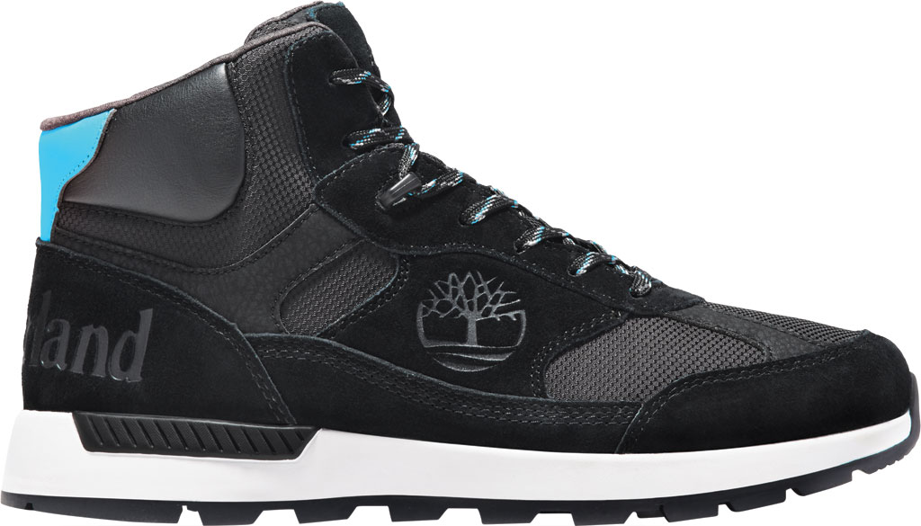Men's Timberland Field Trekker Mid Fabric and Leather Hiker Boot, Black Suede, large, image 2