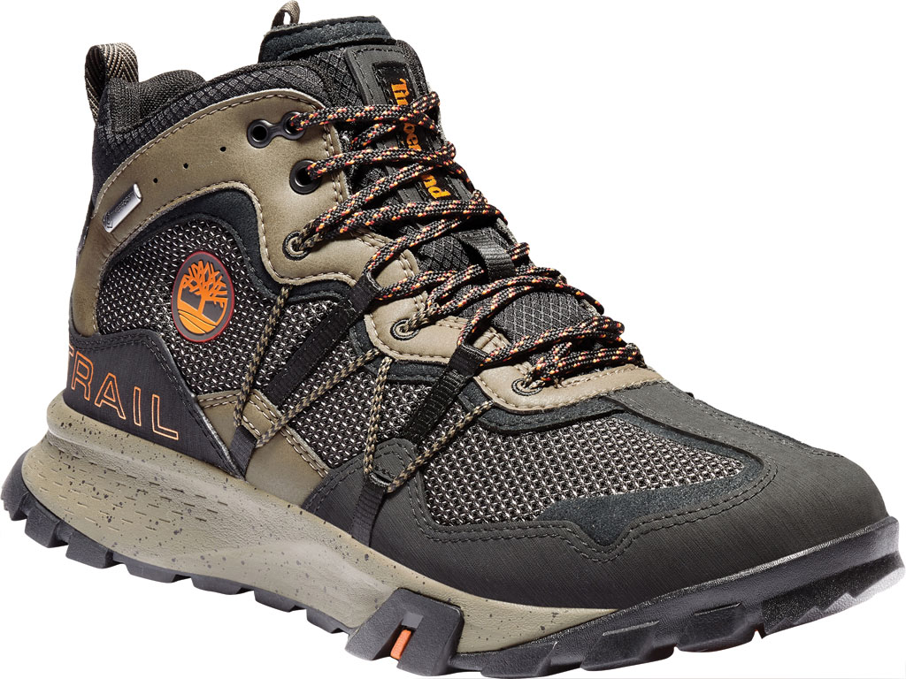 Men's Timberland Garrison Trail Waterproof Mid Fabric Hiker, Black/Brown ReBOTL Fabric/Synthetic Leather, large, image 1