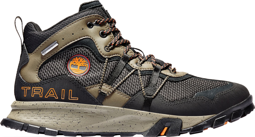 Men's Timberland Garrison Trail Waterproof Mid Fabric Hiker, Black/Brown ReBOTL Fabric/Synthetic Leather, large, image 2