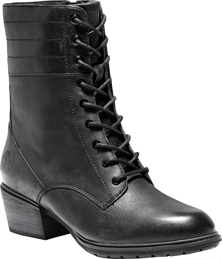 Women's Timberland Sutherlin Bay Side Zip Lace Up Boot, Black Full Grain Leather, large, image 1