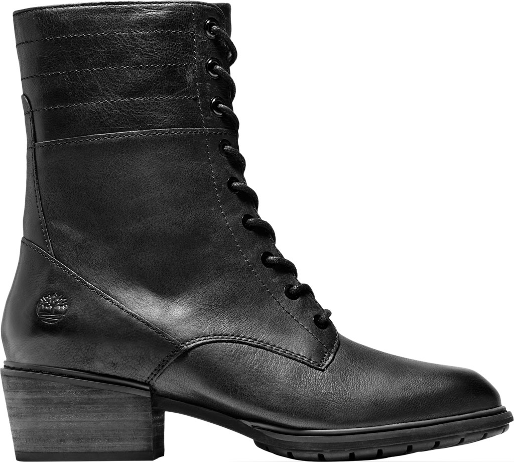 Women's Timberland Sutherlin Bay Side Zip Lace Up Boot, Black Full Grain Leather, large, image 2