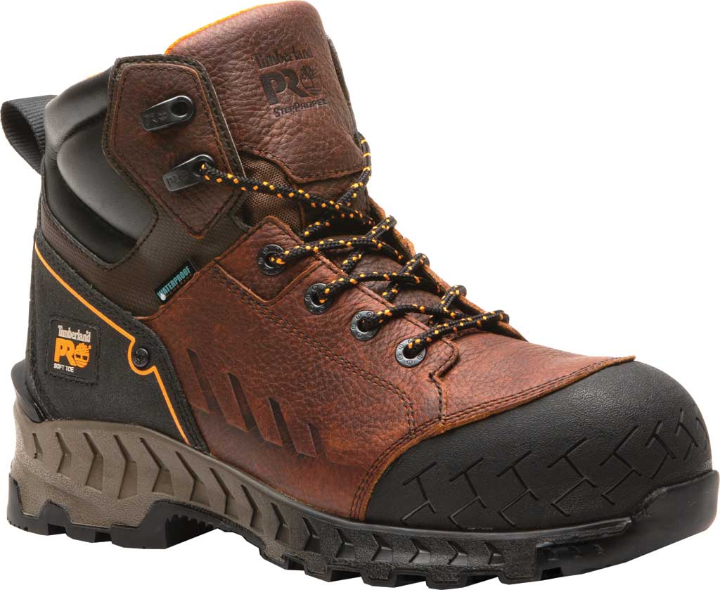 "Men's Timberland PRO Work Summit 6"" Soft Toe Waterproof Boot, Brown Full Grain Leather, large, image 1"