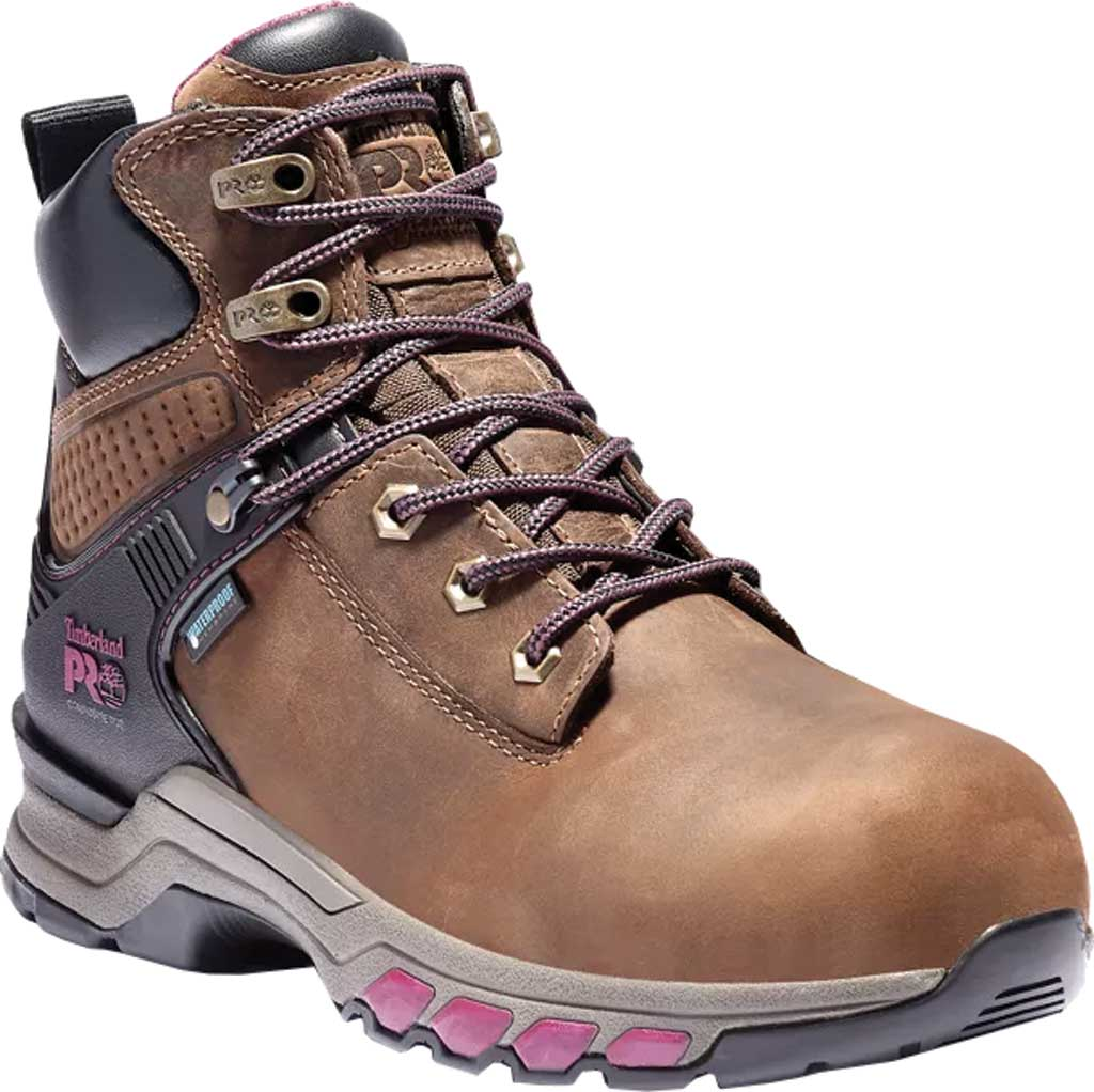 """Women's Timberland PRO Hypercharge 6"""" Composite Safety Toe Boot, Brown/Maroon Full Grain Leather, large, image 1"""