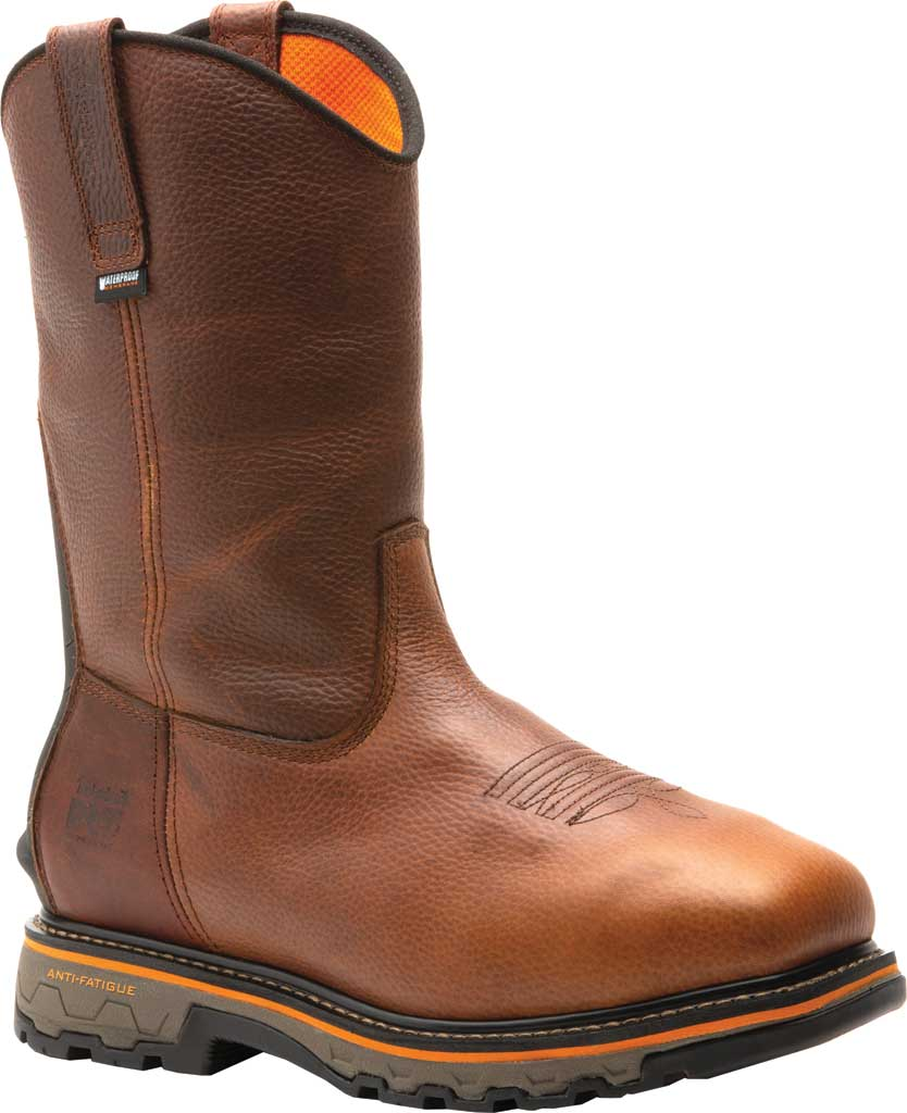 Men's Timberland PRO True Grit Composite Safety Toe Met Guard Boot, Brown Autumn Backtrack Full Grain Leather, large, image 1