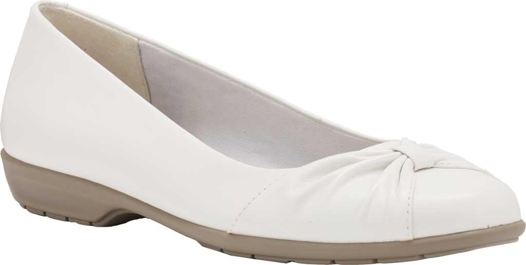 Women's Walking Cradles Fall Ballet Flat, White Leather, large, image 1